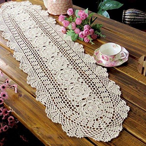 Hand Crocheted Runner (yazi Crochet Floral Table Runner Beige Handmade Rustic Floral Pattern Table Doilies 11.8