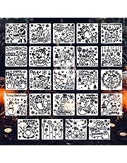 KINBOM 24st 15x15cm Kerstdecoratie Stencils, Herbruikbare PET Kerst Sjablonen Set Kerstman Sneeuwpop Patronen voor Hout Schilderen Muur Raam Plakboek Decoratie DIY Ambachten