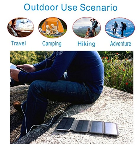Zebora Powerful Portable Solar Charger Equipped with 4 Foldable Solar Panels & 10,000 mAh Dual USB Ports Power Bank for Mobile Devices, Pads & More Other USB-charged Devices by Zebora (Image #5)'