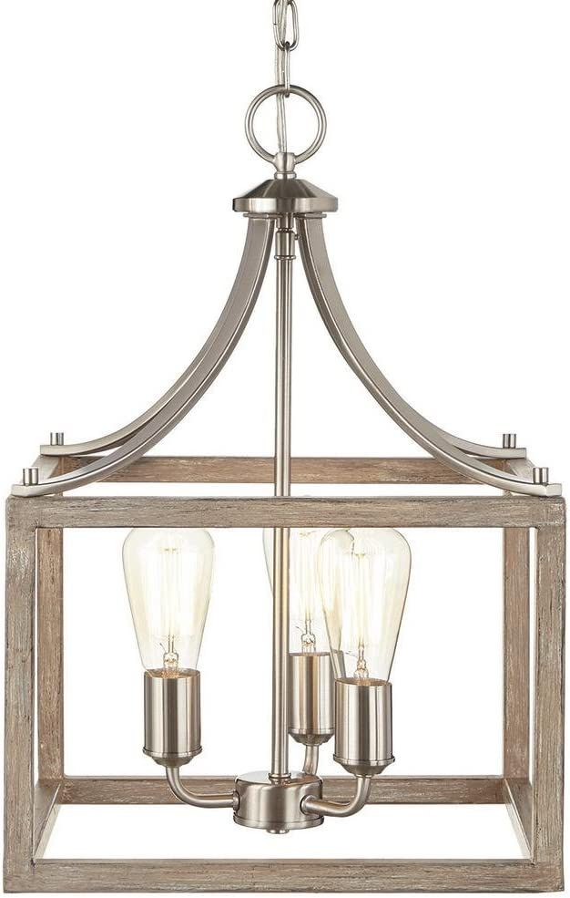 Home Decorators Collection Boswell Quarter 14 in. 3-Light Brushed Nickel Chandelier with Painted Weathered Gray Wood Accents