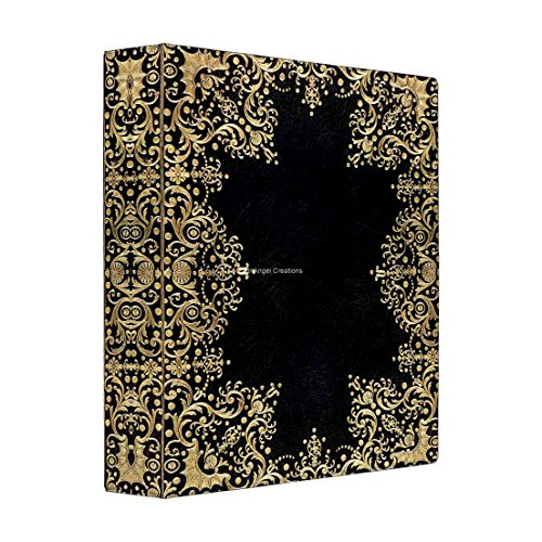 3 Ring Binder, Antique Style Black Gold Filigree Book, 4 Sizes Available (Large, Black Interior)
