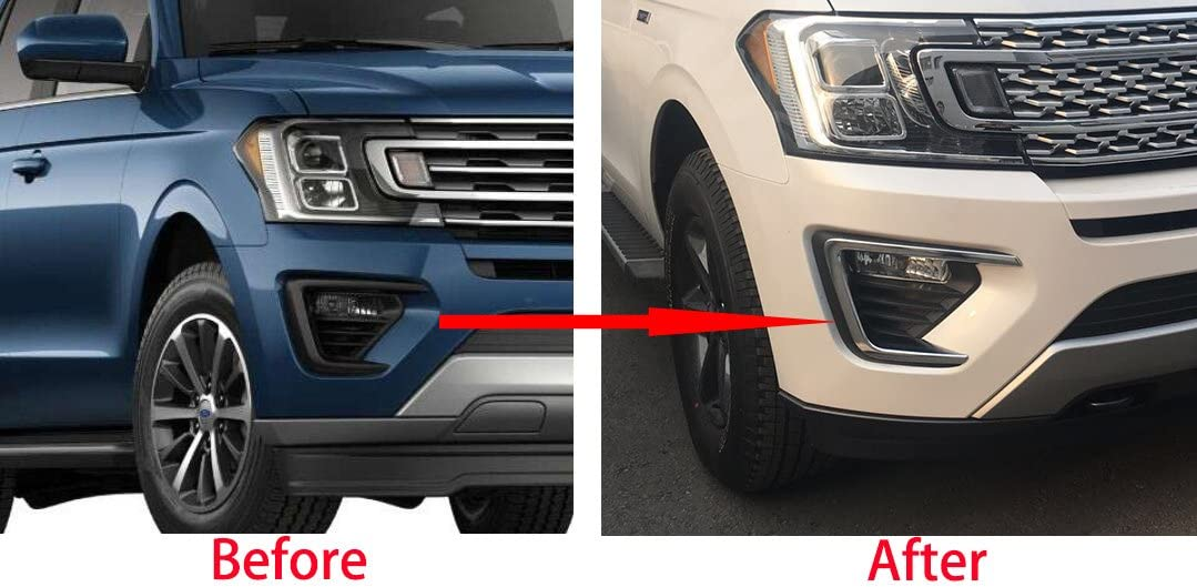 Beautost Fit For 2018 New Ford Expedition Chrome Front Fog Light Lamp Bezel Cover Trims