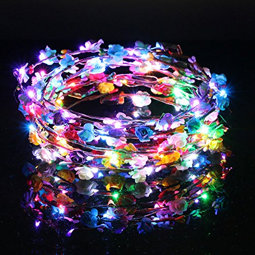 Price comparison product image 5 -Pack LED Light up Rose Flower Fairy Elegant Wreath Crown Garland Headband Halo Floral Headpiece Wedding Festival Party Hair Decoration Adjustable band Make up Headdress (5pcs mixed color)