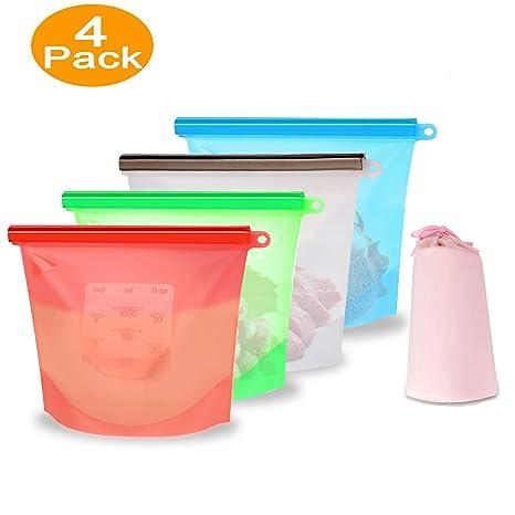 XREXS - Bolsas de silicona reutilizables para almacenamiento ...