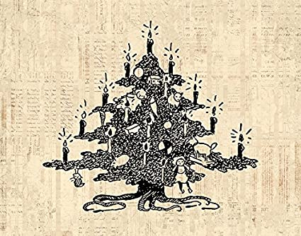 Amazon.com: Vintage Decorated Christmas Tree Wall Art Print for Xmas ...
