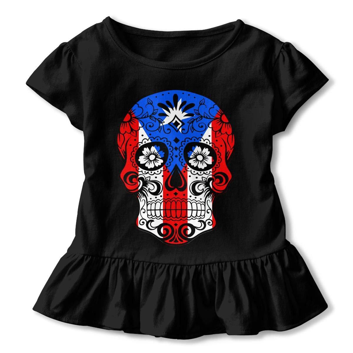 Puerto Rico Sugar Skull Toddler//Infant Girls Short Sleeve T Shirts Ruffles Shirt Tee for 2-6T