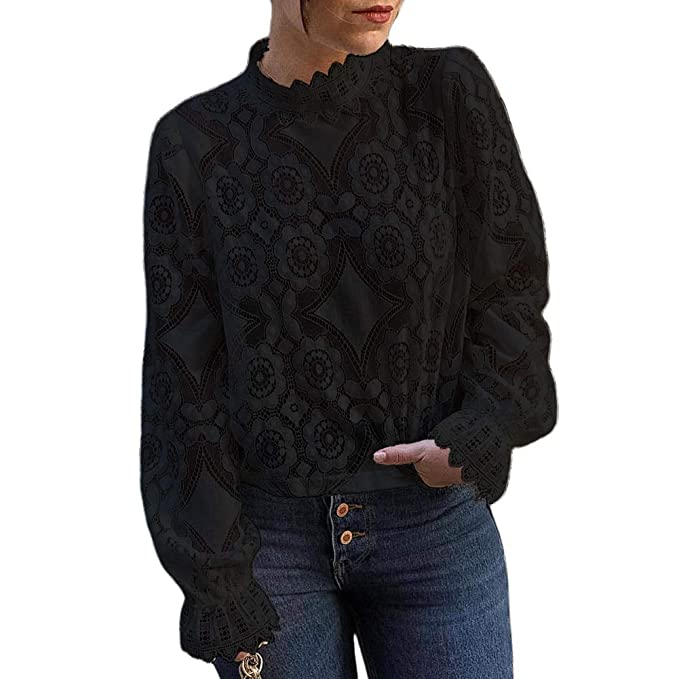 Steampunk Tops | Blouses, Shirts GUYUEQIQIN Womens Long Sleeve Lace Tops Casual Hollow Out Stand Collar Shirt Tees $19.99 AT vintagedancer.com