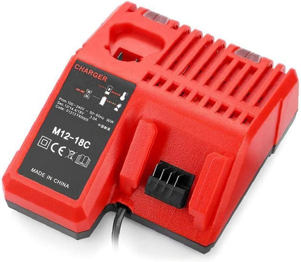 Nicetruc Cargador de bater/ía M12-18C Herramienta de Cargador de bater/ía de 110-240 V Li-Ion de Milwaukee M12 M18 48-11-1815 48-11-1828 48-11-2401 48-11-2402
