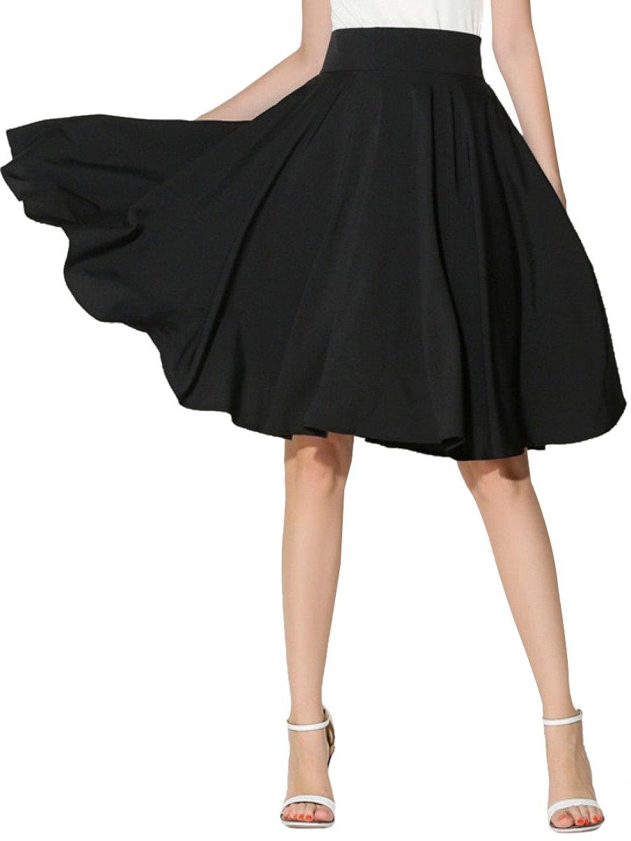 Floerns Women's Pleated High Waist Knee Length A Line Skirt Black XL