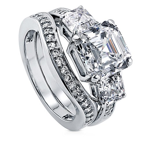 Classy Engagement Ring Set (BERRICLE Rhodium Plated Sterling Silver Cubic Zirconia CZ 3-Stone Engagement Ring Set Size 4)