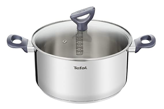 Tefal Daily Cook - Cacerola Acero Inoxidable con Tapa de 20 cm, 3 Litros, Base Reforzada, Aptas para Todo Tipo de Cocinas Incluido Inducción, ...