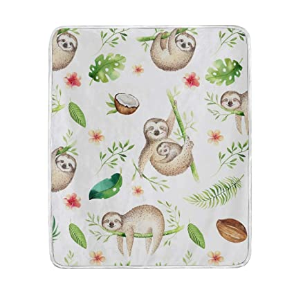 Amazon.com  Animal Cute Sloth Throw Blanket for Couch Bed Living ... 76e0e2a3cd