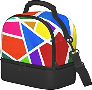 Insulated Lunch Bag With 2 Compartments Geometric Colored Large Lunch Box Cooler Food Pouch For Kids Toddler Picnic Drink Storage Tote Waterproof