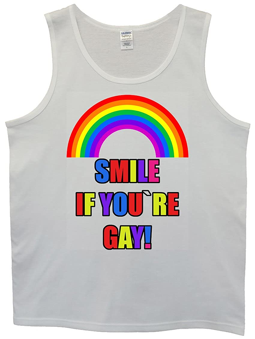 Smile If You Are Gay Rainbow White Men Tank Top Vest