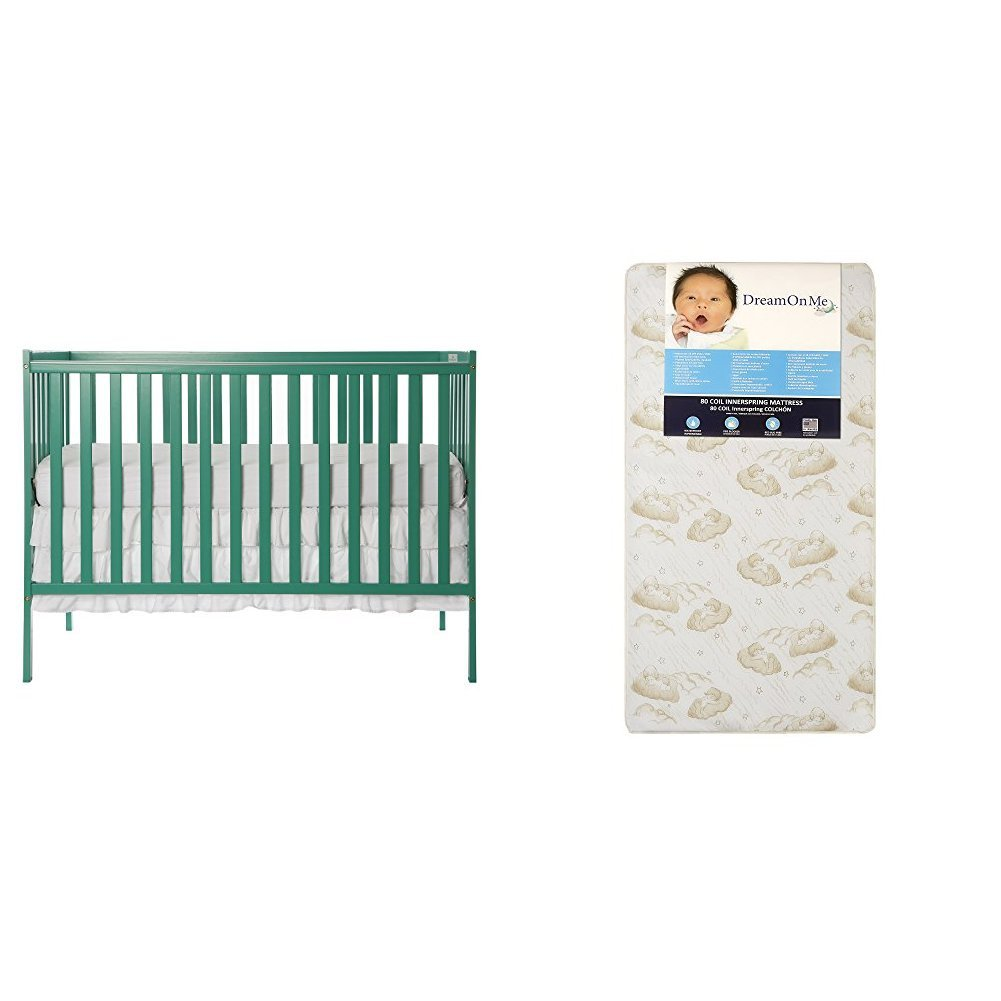 Dream On Me Synergy5 in 1 Convertible Crib with Dream On Me Spring Crib and Toddler Bed Mattress, Twilight