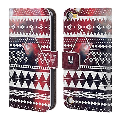 Head Case Designs Triangolo Azteco Pattern Tribali Nebulose Cover a portafoglio in pelle per iPod Touch 5th Gen / 6th Gen