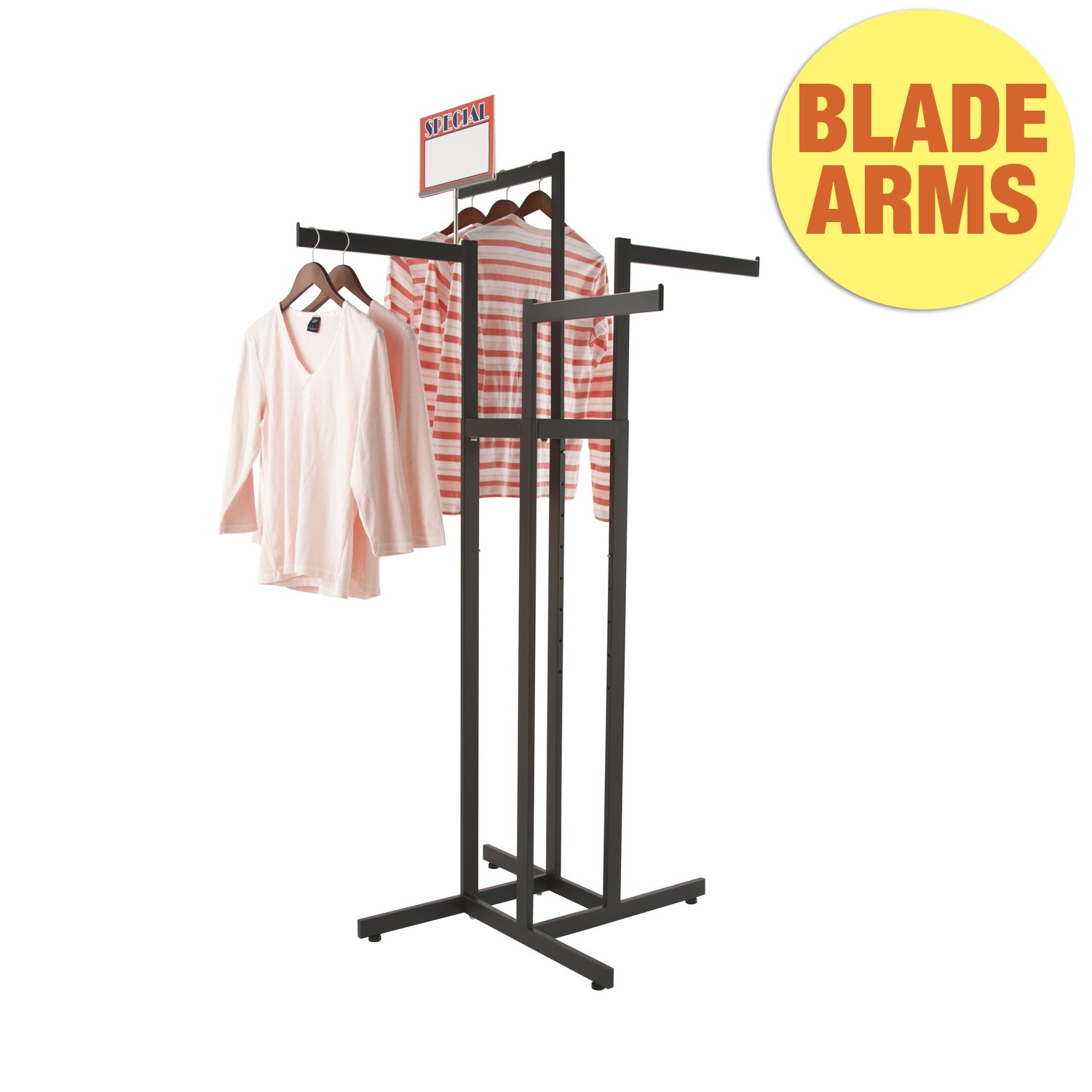Clothing Rack - Black 4 Way Rack, Adjustable Height Arms, Blade Arms, Square Tubing, Perfect for Clothing Store Display With 4 Straight Arms