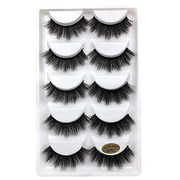 61f5c589392 Amazon.com : OWMEOT💖3D Mink False Eye Lashes Fake Eyelashes 100% Siberian Mink  Fur Makeup Wispy Long Cross Thick Reusable Fake Eyelashes 5 Pairs/pack (C)  : ...