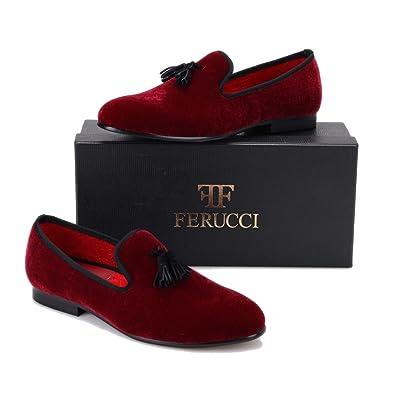 2f3ef280f79c FERUCCI Handmade Burgundy Men Velvet Slippers Loafers with Black Tassel (7)