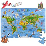 World Map Big Floor Puzzle with Thick Jigsaw Puzzle Pieces which can Also be Used on a Table are Great Floor Puzzles for Kids Ages 4-8 Years and Older (World Map Puzzle) (World Map Puzzle)