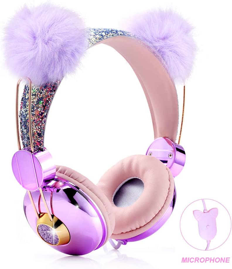 Amazon Com Kids Headphones Glitter Bear Ear Volume Limiting Adjustable Cute Anime Wired Headphones For Girls Boys School Purple Bear Ear Home Audio Theater