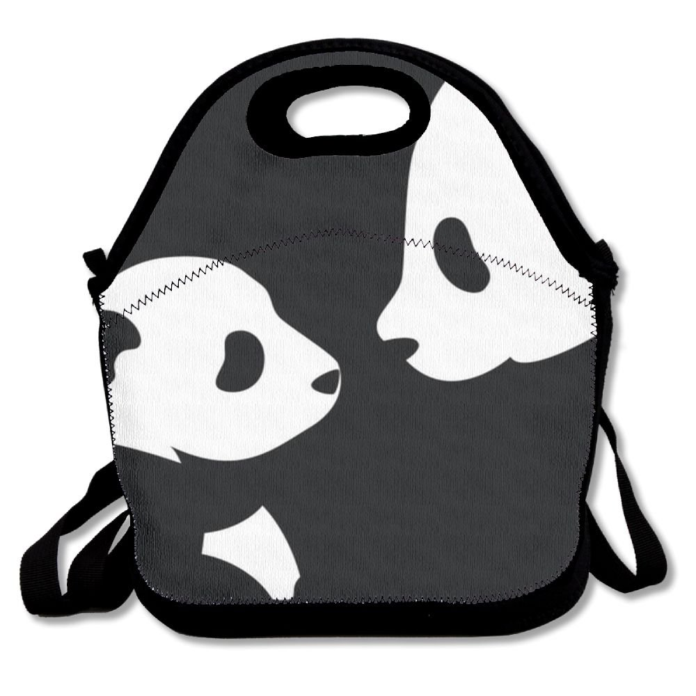 Kenve Panda Mother And Baby Neoprene Lunch Tote,Thick Insulated Thermal Lunch Bag Waterproof Outdoor Travel Picnic Carry Case Lunch Handbags Tote With Zipper