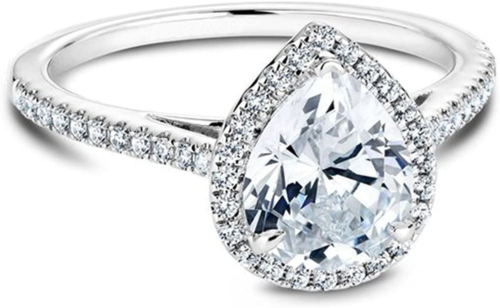 espere Platinum Plated Teardrop CZ Solitaire Engagement Ring in Sterling Silver Size 5-9