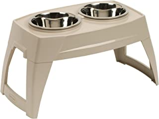 product image for Suncast Elevated Dog Bowls - Double Food Bowls - Elevated Adjustable Feeding Station for Large Dogs - Two Bowls for Food and Water - Taupe