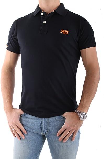 Superdry Hombre Polo – Camiseta en negro Logo en color naranja ...