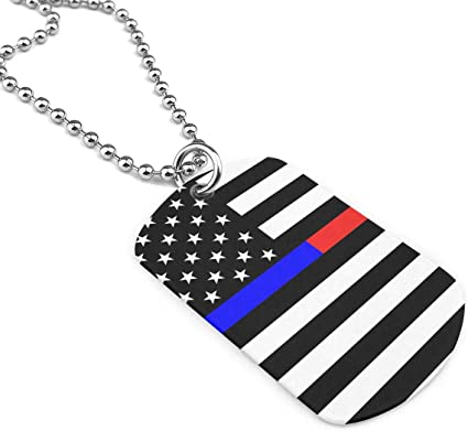 Jewelry Blue Thin Line US Flag Dog Tag Military Zinc Alloy Pendant Necklace