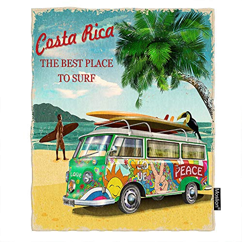Moslion Beach Bus Throw Blanket Costa Rica Sea Parrot Surf Board Sand Palm Tree Throw Blanket Flannel Home Decorative Soft Cozy Blankets 40x50 Inch for Baby Kids Pet