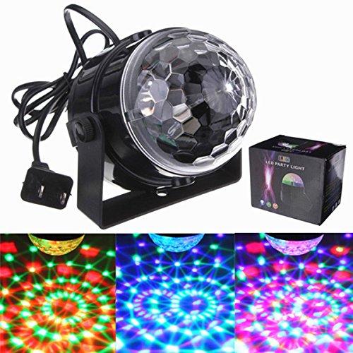 DJ Lights, SOLMORE LED Stage Lights Disco Light 5W RGB Sound Actived Crystal Magic Rotating Ball Light for Wedding Xmas KTV Party Show Club Pub Disco DJ
