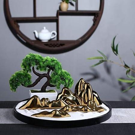 Laogg Jardin Zen Mesa De Arena China Zen Dry Landscape Micro Landscape Decoración De Arte De Oro Rocalla Inicio Creativo Porche: Amazon.es: Hogar