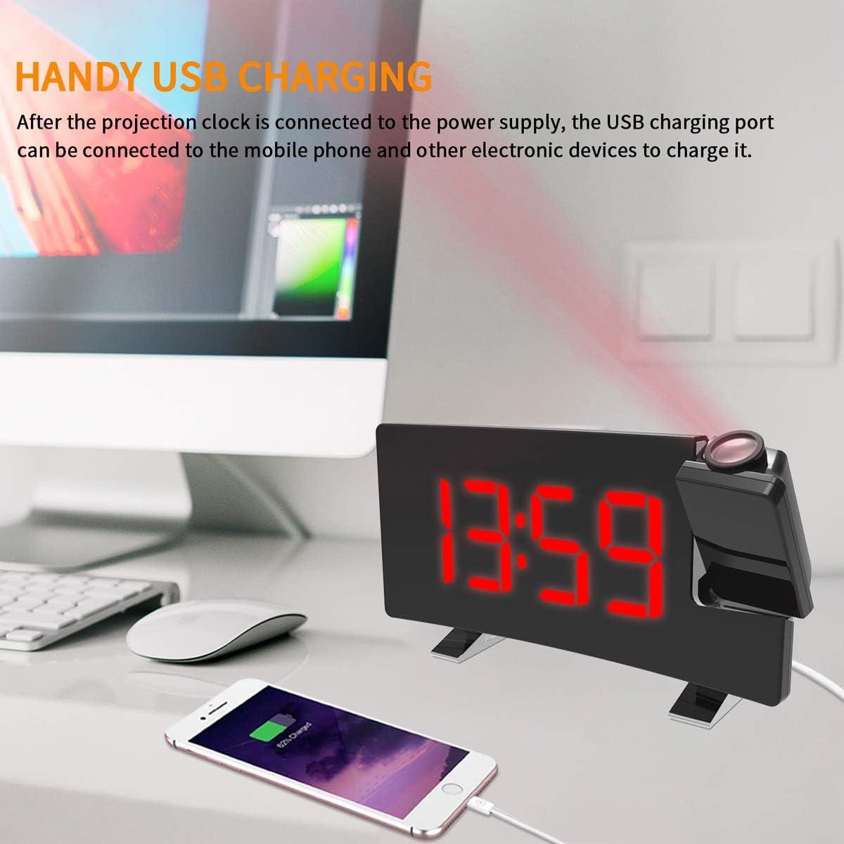 USB-Ladefunktion und Einstellbarer Helligkeit Blau FM-Radiowecker mit Zwei Weckern LEMONBEST Projektionswecker 8-Zoll-LED-Projektionsuhr mit gebogenem Bildschirm