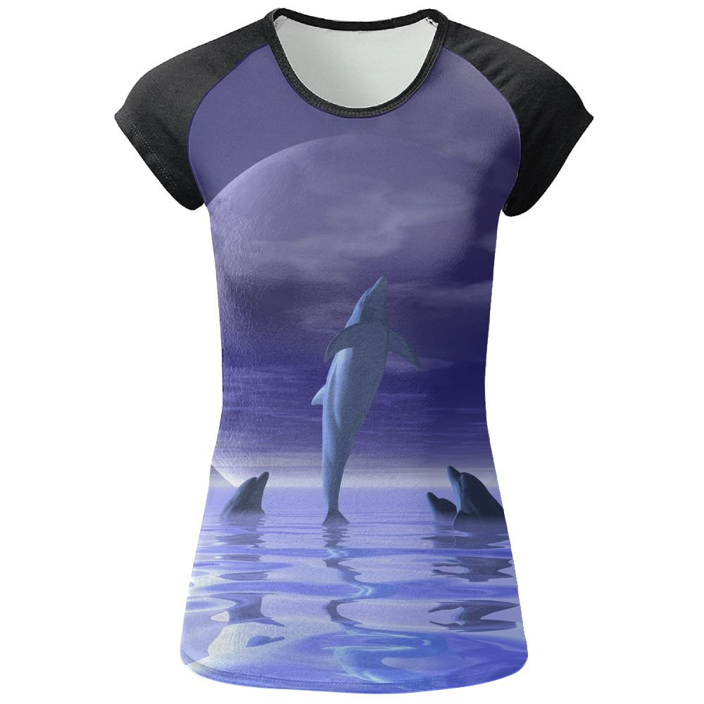 AOBOER Women Fancy Dolphins Casual Short Sleeves Tees Quick Dry Tshirt
