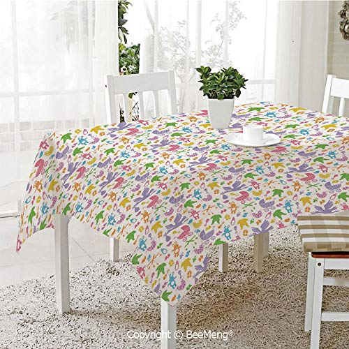 BeeMeng Dining Kitchen Polyester dust-Proof Table Cover,Baby,Stork with Newborn Bunny Toys Milk Bottles Infant Item Silhouettes Stroller Cartoon Decorative,Multicolor,Rectangular,59 x 59 inches (Toy Blossom Stroller)