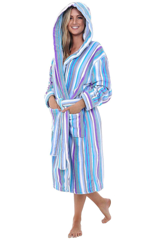 2264ffc22b Del Rossa Women s Water Absorbant 14 oz Fleece Hooded Bathrobe Robe ...