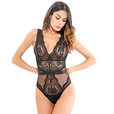 a25b0d552e 2019 Women Sexy Lingerie Sleepwear Lace Underwear Perspective Backless  Babydoll Bodysuit Jumpsuit Pajamas (Black