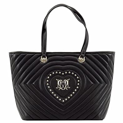 d5df80c27bc5 Amazon.com  Love Moschino Women s Studded Heart Black Leather Tote ...