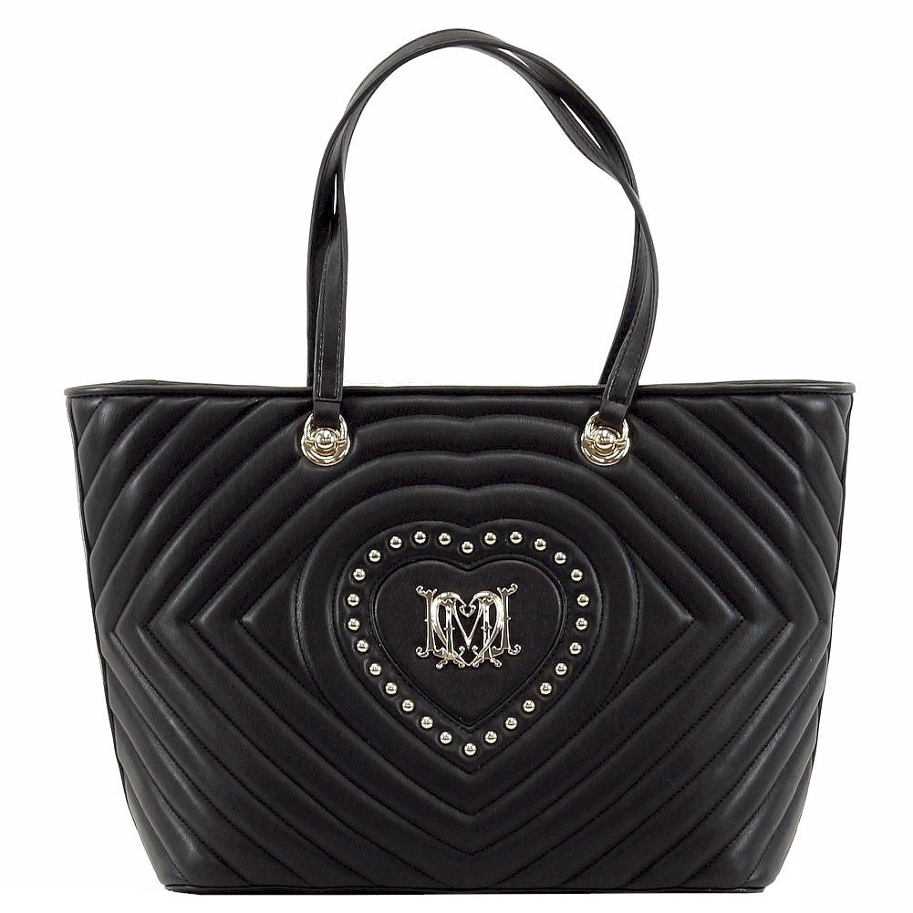 Love Moschino Women's Studded Heart Black Leather Tote Handbag
