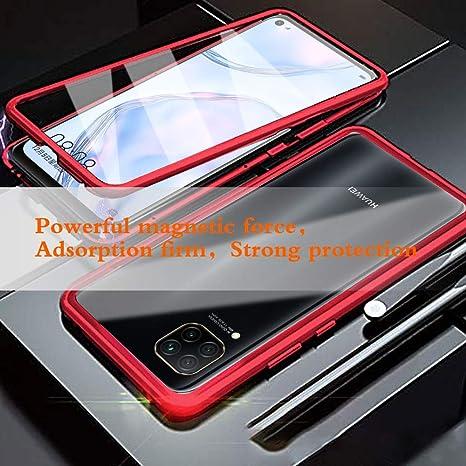 Funda para Huawei P40 Lite Adsorcion Magnetica Carcasa 360 Grados Protecci/ón Estuche Negro Doble Untre Delgada H/áptico Vidrio Templado Metal Bumper con Adsorci/ón Magn/ética Carcasa