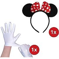 TK Gruppe Timo Klingler Maus Set Kostüm - 1x Haarreif Haarspange Haar mit Ohren Mini Maus und 1x Paar Handschuhe weiß mit Knopf für Maus Mini Kostüm Damen an Fasching Karneval