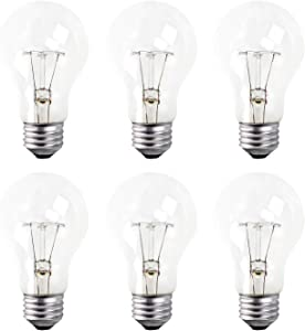 A19 Clear Incandescent Rough Service Light Bulb, 60 Watt, Long Life - 10000 Hours, 2700K Soft White, E26 Medium Base, 490 Lumens, 130V (6 Pack)