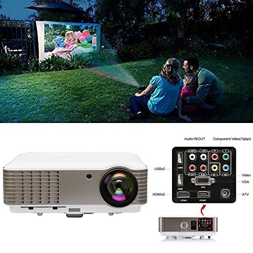EUG Full HD 1080p 3600 Lumens LCD LED Image System Home Theater Cinema Projector iPhone iPad Cell Phone PC Blu-ray Xbox PS3 Mac TV Compatible for Movie Gaming with USB HDMI VGA AV Port Remote Keystone