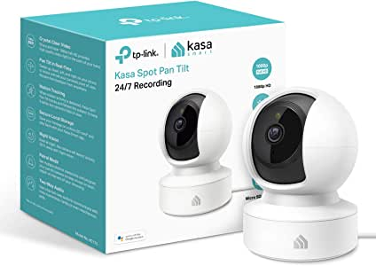 TP-Link Kasa Smart Security Camera, Baby Monitor, 360°rotational Views, No Hub Required, Works with Alexa(Echo Spot/Show&Fire TV), Google Home/Chromecast, 1080p, 2-Way Audio with Night Vision(KC115)