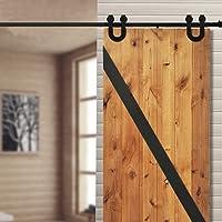 WINSOON Single Vintage Sliding Barn Wood Door Hardware Track Roller Kit Horseshoe Style Black 8 Ft Single Door Kit U Shaped