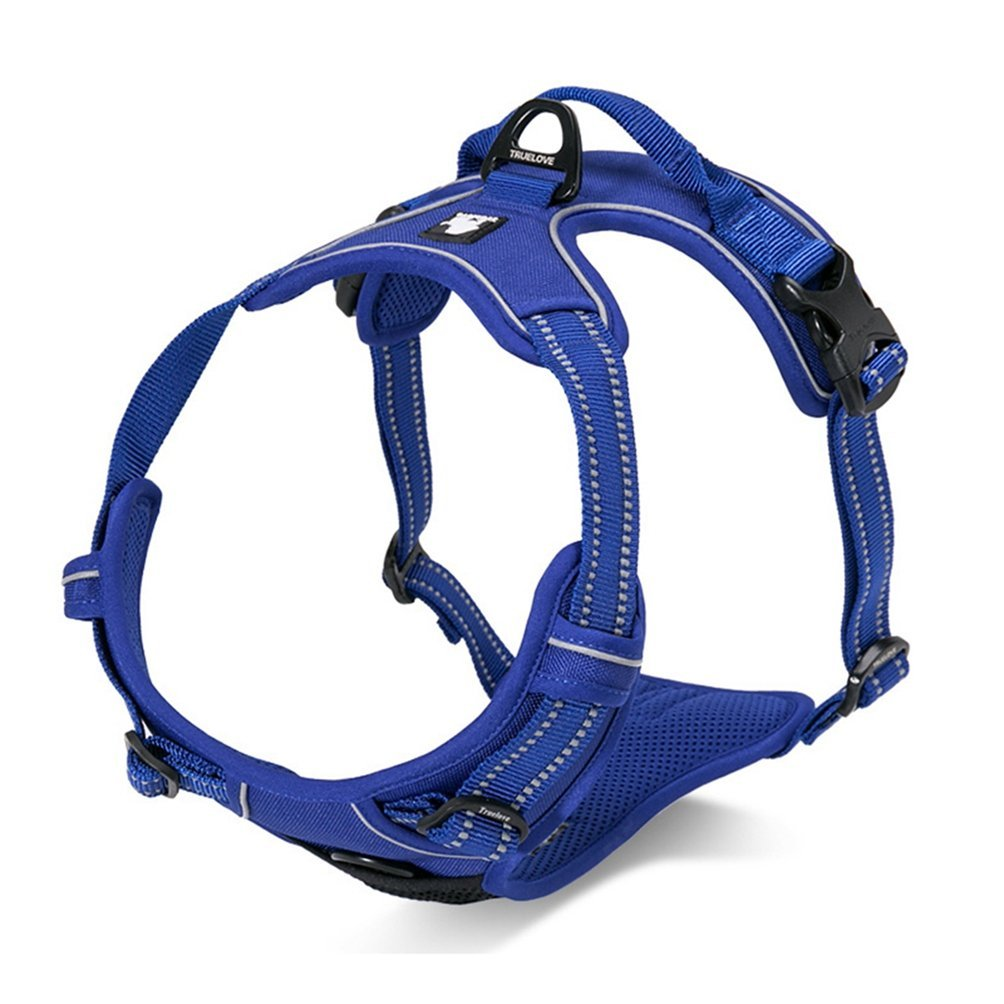 bluee XL bluee XL Jim Hugh Front Range Reflective Nylon Large pet Dog Harness All Weather Padded Adjustable Safety Vehicular Leads Dogs pet