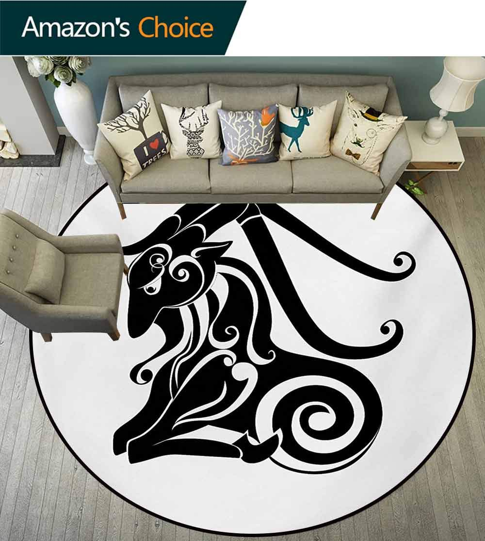 RUGSMAT Zodiac Capricorn Art Deco Pattern Non-Slip Backing Machine Washable Round Area Rug,Monochrome Astrology Themed Pattern Abstract Animal Illustration Floor Mat Home Decor,Round-71 Inch