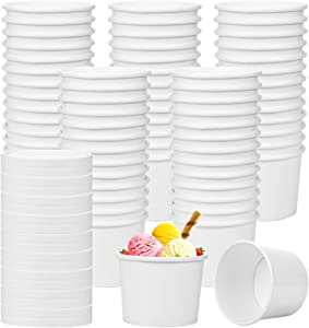 Hedume 75 Pack Ice Cream Cups with 75 Pack Lids, 8 oz Disposable Paper Dessert Bowls for Hot and Cold Food, Soup, Sundae, Frozen Yogurt
