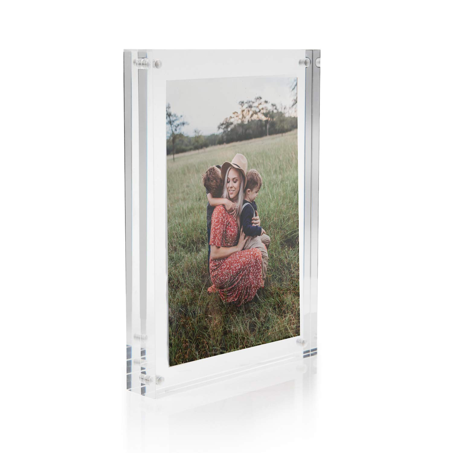Houseables Acrylic Glass Picture Frame, Magnetic Clear Photo Frames, 5''x7'', 1 Pack, Standard Pictures Size, Double Sided, Frameless, for Desk, Office, Display Friends, Graduation, Family, Postcard by Houseables